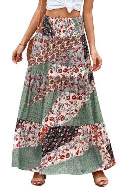 时尚波西米亚印花松紧腰身宽松飘逸半身长裙