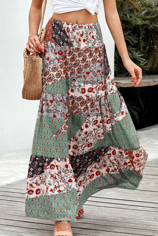 时尚波西米亚印花松紧腰身宽松飘逸半身长裙 LC65265