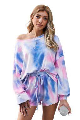 蓝色扎染可爱舒适长袖短裤家居睡衣套装