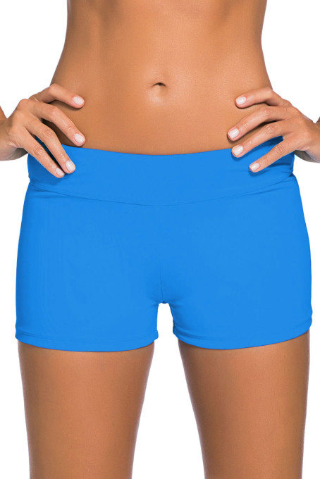 天蓝色宽腰泳装短裤