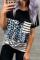 蓝色豹纹条纹拼接圆领短袖口袋时尚休闲T恤
