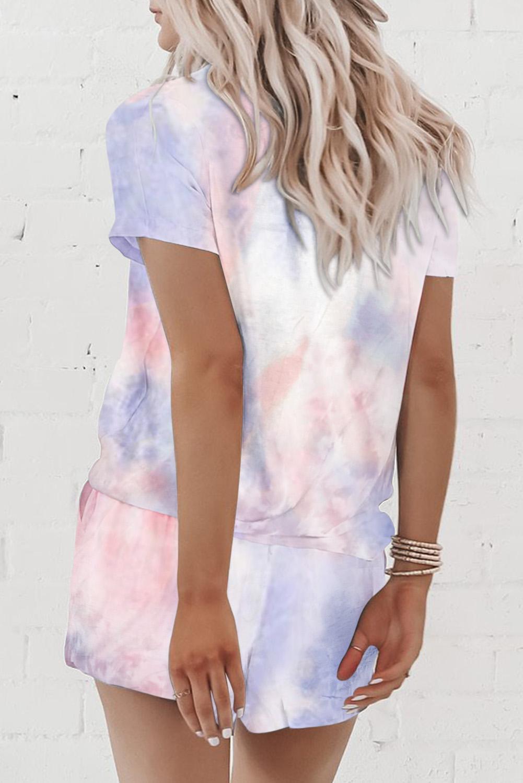 粉色扎染印花圆领短袖休闲短裤家居服套装 LC62093