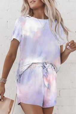 粉色扎染印花圆领短袖休闲短裤家居服套装