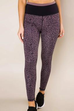 紫色豹纹宽腰运动高弹透气打底裤