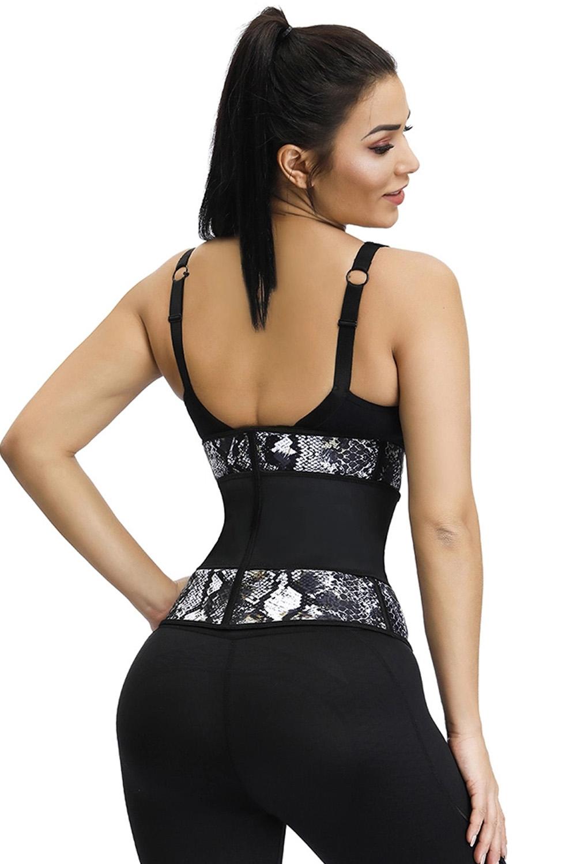 灰色7根钢骨氯丁橡胶蛇纹腰部锻炼塑身衣 LC51060