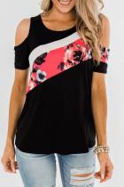 黑色时尚花卉拼色舒适透气圆领冷肩T恤上衣