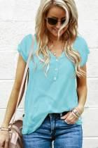 青色短袖纽扣细节甜美可爱休闲T恤
