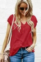 红色短袖纽扣细节甜美可爱休闲T恤
