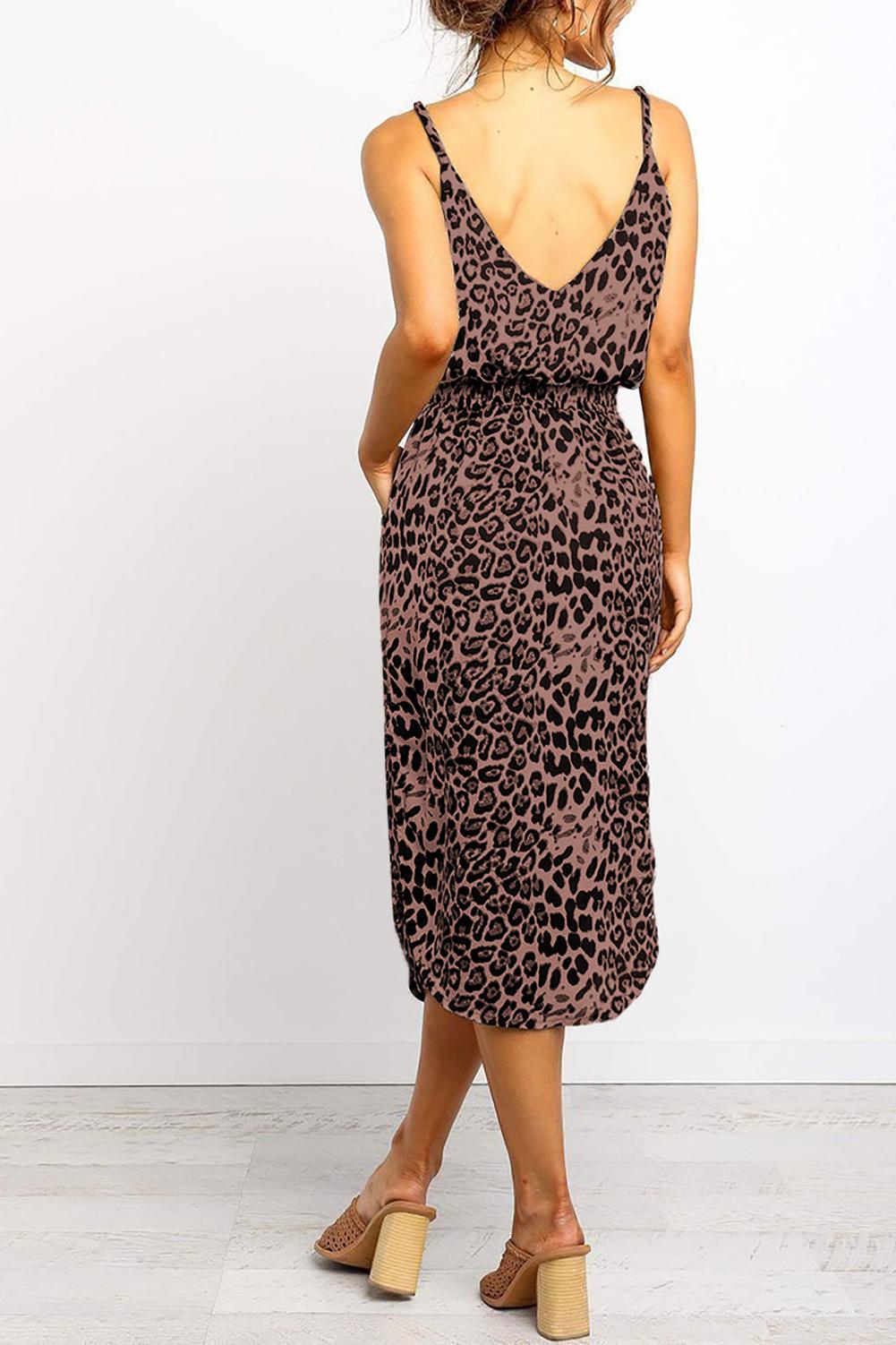 时尚豹纹印花中长背心式连衣裙 LC611729