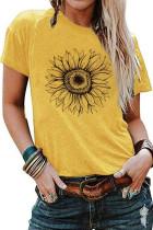 黄色向日葵图案圆领短袖休闲时尚T恤