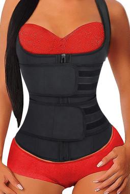 黑色氯丁橡胶塑腰拉链设计背心款塑身衣