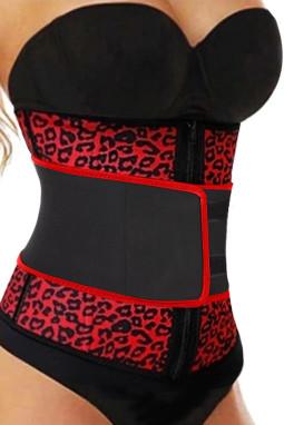 红色7根钢骨氯丁橡胶豹纹腰部锻炼塑身衣
