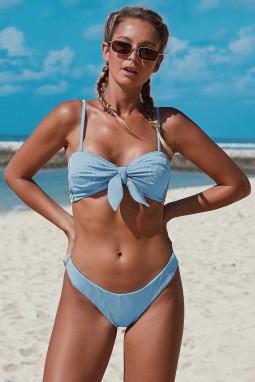 浅蓝色可调节细肩带无钢圈时尚绑结罗纹比基尼泳装