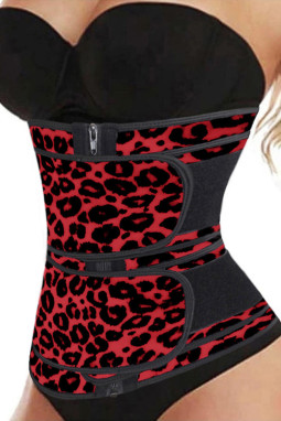 红色豹纹氯丁橡胶腰部训练器4钢骨拉链塑身衣