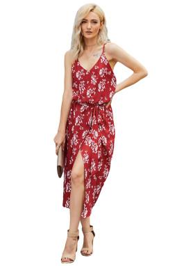 红色V领无袖度假印花绑带束腰裹身中长裙