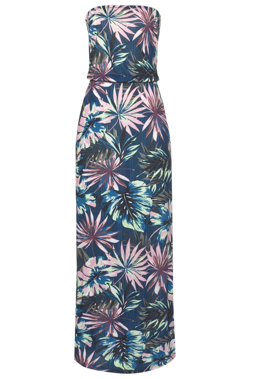 绿色抹胸波西米亚风印花长款连衣裙 LC611159