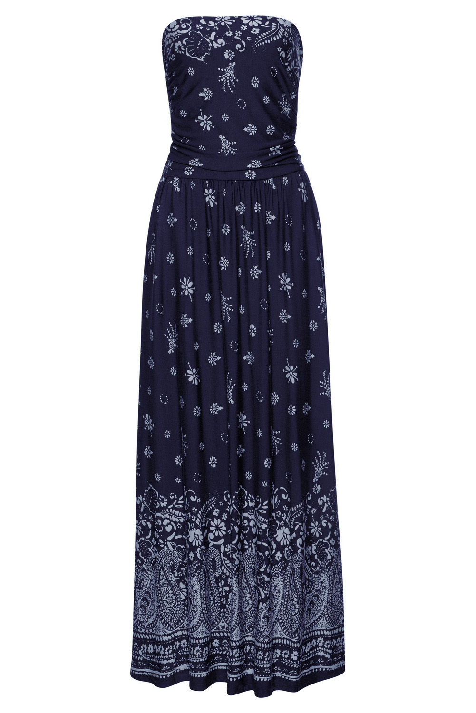 蓝色抹胸波西米亚风印花长款连衣裙 LC611159