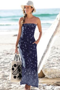 蓝色抹胸波西米亚风印花长款连衣裙