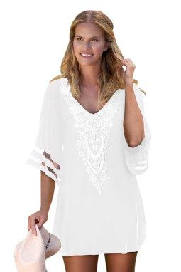 白色钩针编织细节网眼袖雪纺沙滩裙