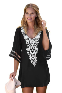 黑色钩针编织细节网眼袖雪纺沙滩裙