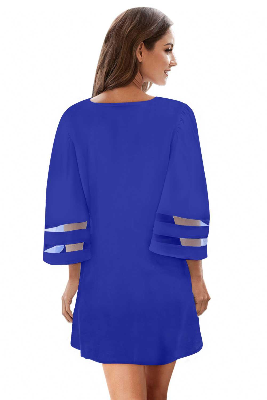 蓝色钩针编织细节网眼袖雪纺沙滩裙 LC420241