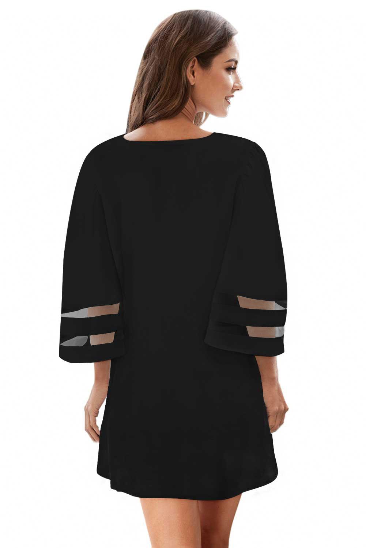 黑色钩针编织细节网眼袖雪纺沙滩裙 LC420241