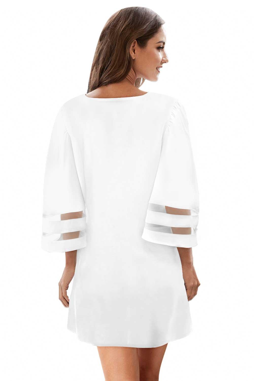 白色钩针编织细节网眼袖雪纺沙滩裙 LC420241