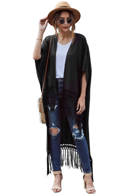 黑色蕾丝流苏高低下摆和服式开衫