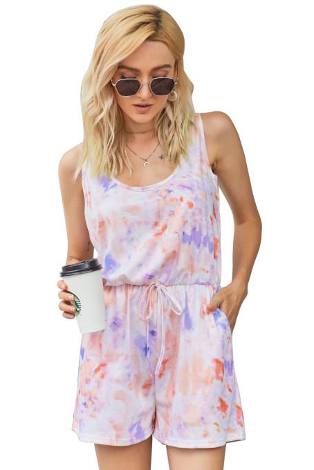 唯美可爱扎染印花汤匙领无袖夏季休闲连衣裤