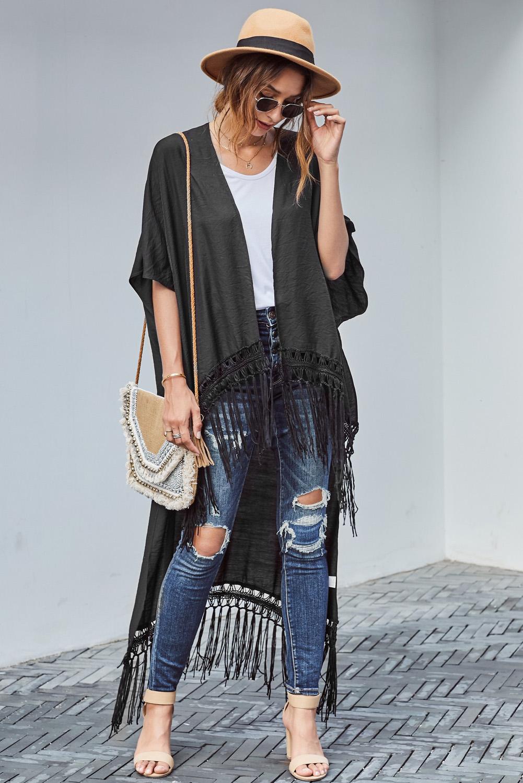 黑色蕾丝流苏高低下摆和服式开衫 LC85482