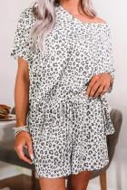 时尚豹纹印花V领短袖宽松休闲家居睡衣套装