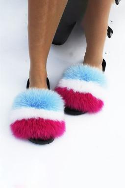 玫红蓝拼色条纹毛绒球平底拖鞋
