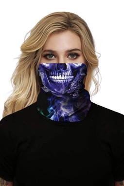 紫蓝骷髅印花可水洗男女通用头巾面罩围脖