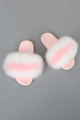 粉色拼色条纹毛绒球平底拖鞋