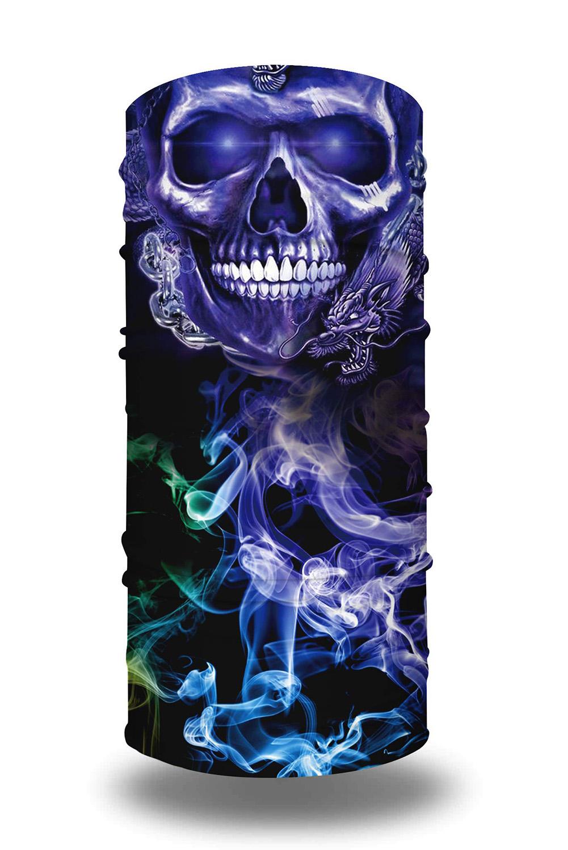 紫蓝骷髅印花可水洗男女通用头巾面罩围脖 LC04012