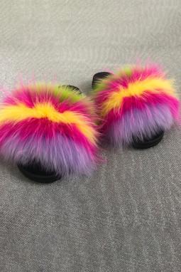 紫色拼色条纹毛绒球平底拖鞋