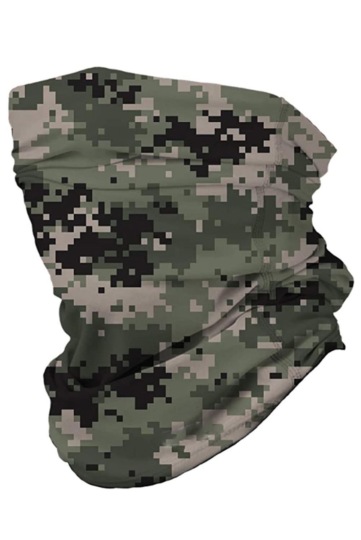 绿色数码迷彩图案户外防晒多功能护颈面罩头巾 LC40584