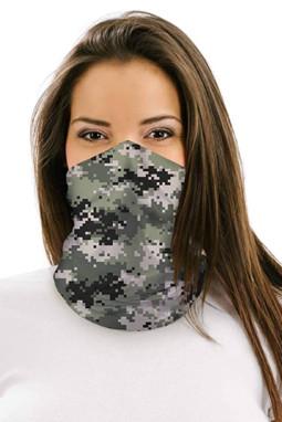 绿色数码迷彩图案户外防晒多功能护颈面罩头巾