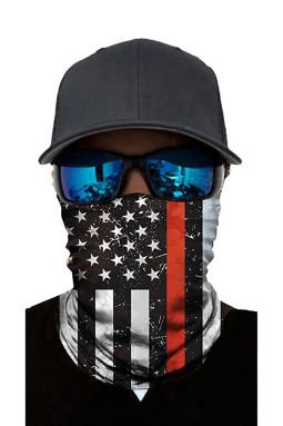黑红星星条纹印花日常防护男女通用多功能围脖头巾面罩