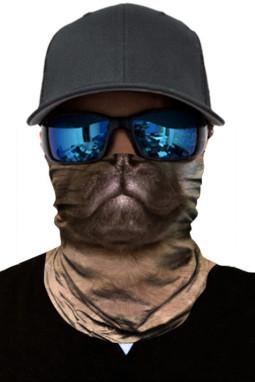 棕色狗图案户外骑行摩托车头巾防晒保暖面罩