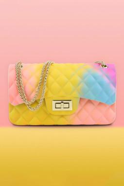 黄色时尚彩虹渐变PVC果冻包