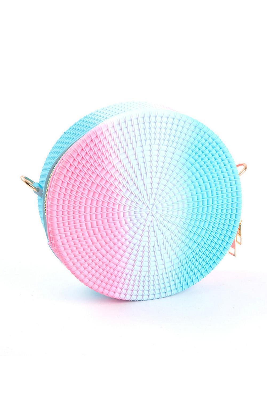 粉色渐变拼色果冻藤制小巧圆形单肩包 LC003005