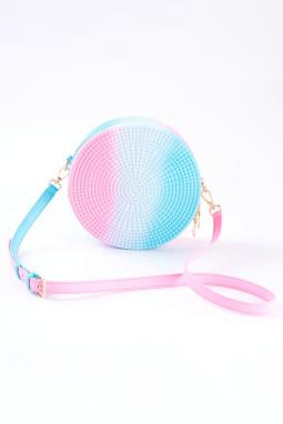 粉色渐变拼色果冻藤制小巧圆形单肩包