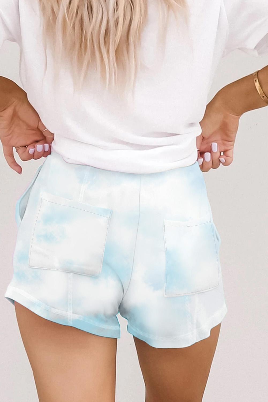 浅蓝色针织扎染休闲短裤 LC77349