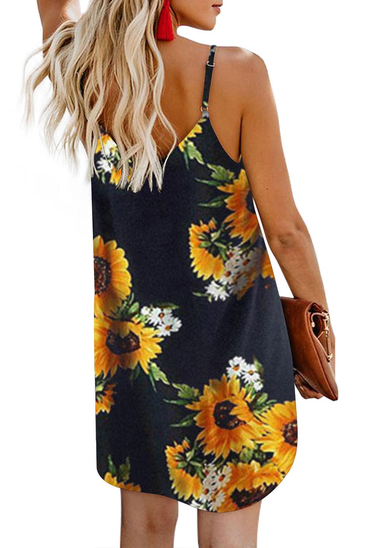 黑色太阳花图案V领细肩带正面排扣i连衣裙 LC220720