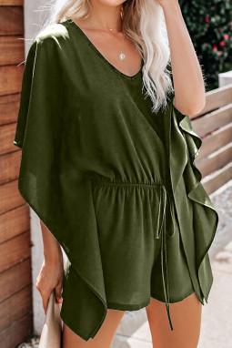 绿色垂褶飘逸袖腰间绑带舒适连衣裤