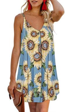 浅蓝色太阳花图案V领细肩带正面排扣i连衣裙