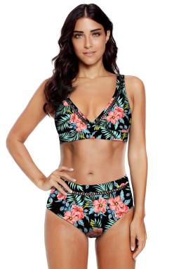 黑色碎花印花V领镂空高腰海滩泳池派对比基尼两件套