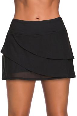 黑色时尚分层设计裤裙泳裙