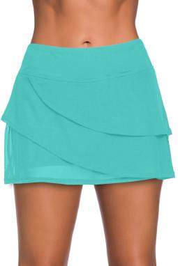 绿色时尚分层设计裤裙泳裙